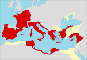 Extent of Roman rule upon Caesar's death (44 BC) --- Author: Coldeel.
