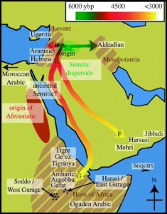 Reconstruction of the spread of Semitic languages according to Kitchen et al. 'Bayesian phylogenetic analysis of Semitic languages identifies an Early Bronze Age origin of Semitic in the Near East' (2009).
