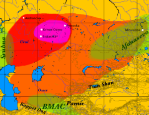 Depicted in red: The Sintashta culture associated with the proto-Indo-Iranians. Depicted in Orange: The Andronovo culture associated with the Indo-Iranian expansion. Depicted in Green: The Bactria Margiana Archaeological complex, associated with the proto-Indo-Aryans. Author: Dbachmann: https://commons.wikimedia.org/wiki/File:Andronovo_culture.png